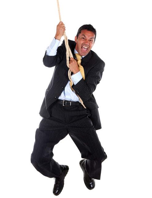 Businessman jumping with a rope isolated over a white background